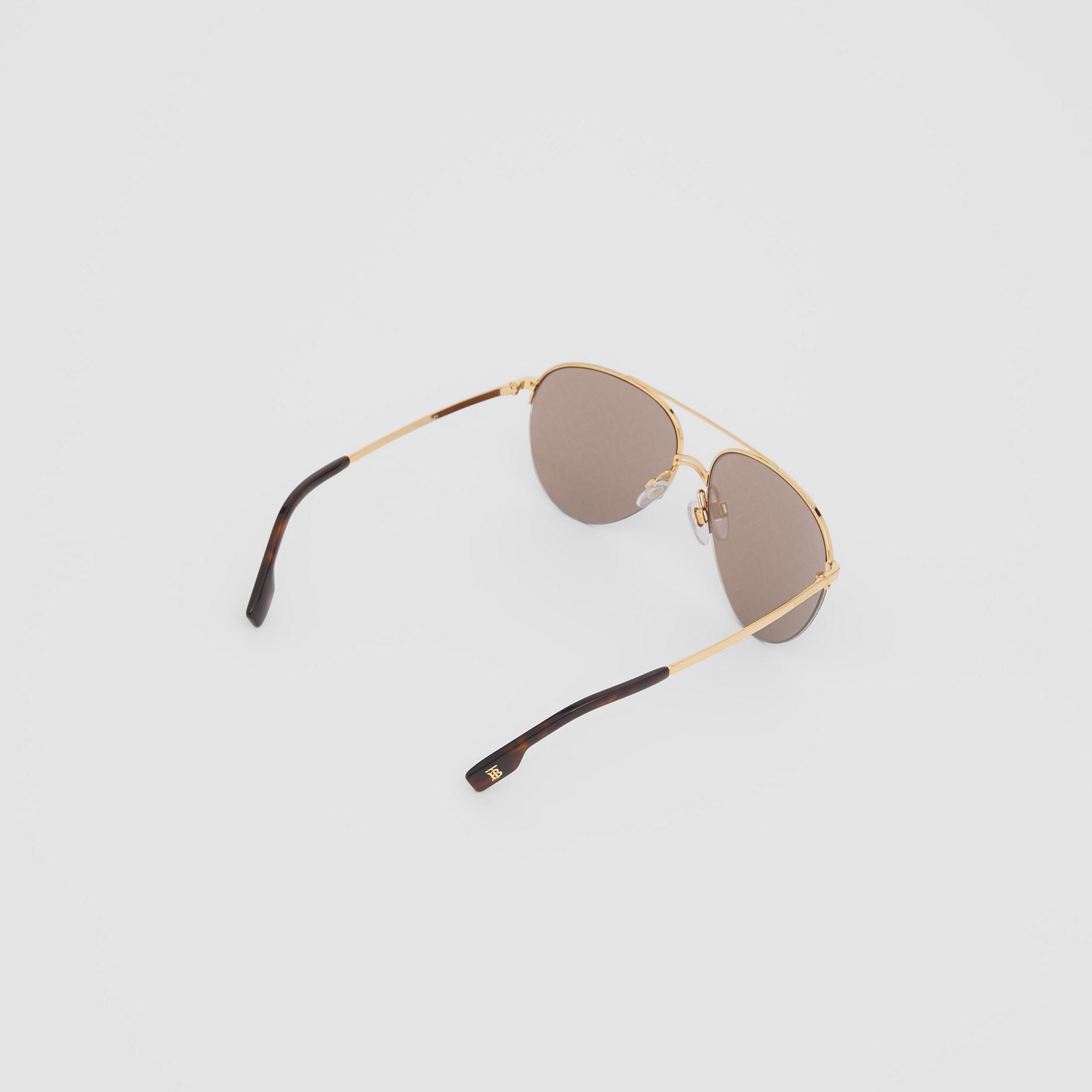 Monogram Print Detail Pilot Sunglasses in Dark Brown - Women | Burberry Canada - gallery image 3