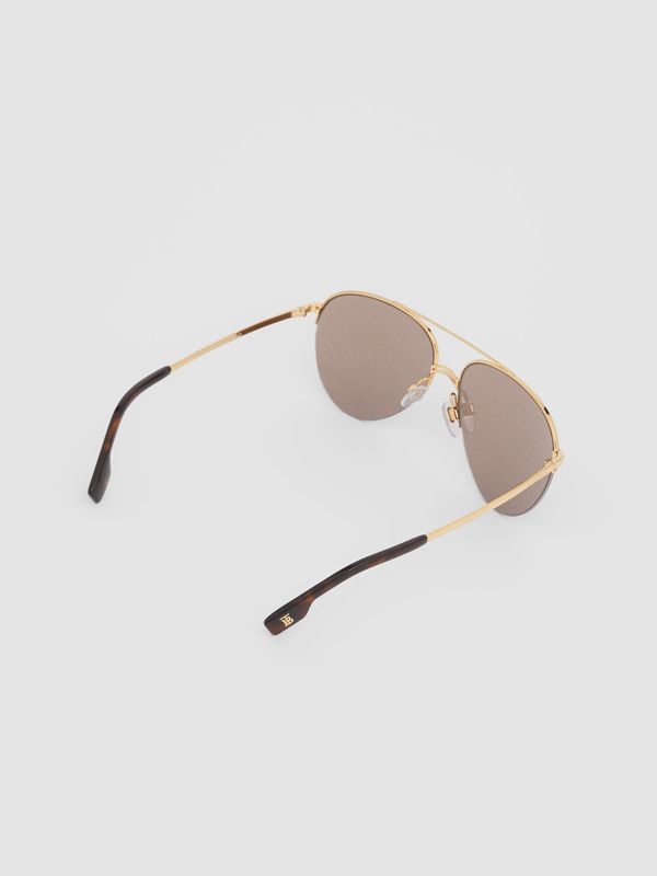 Monogram Print Detail Pilot Sunglasses in Dark Brown - Women | Burberry Canada - cell image 3