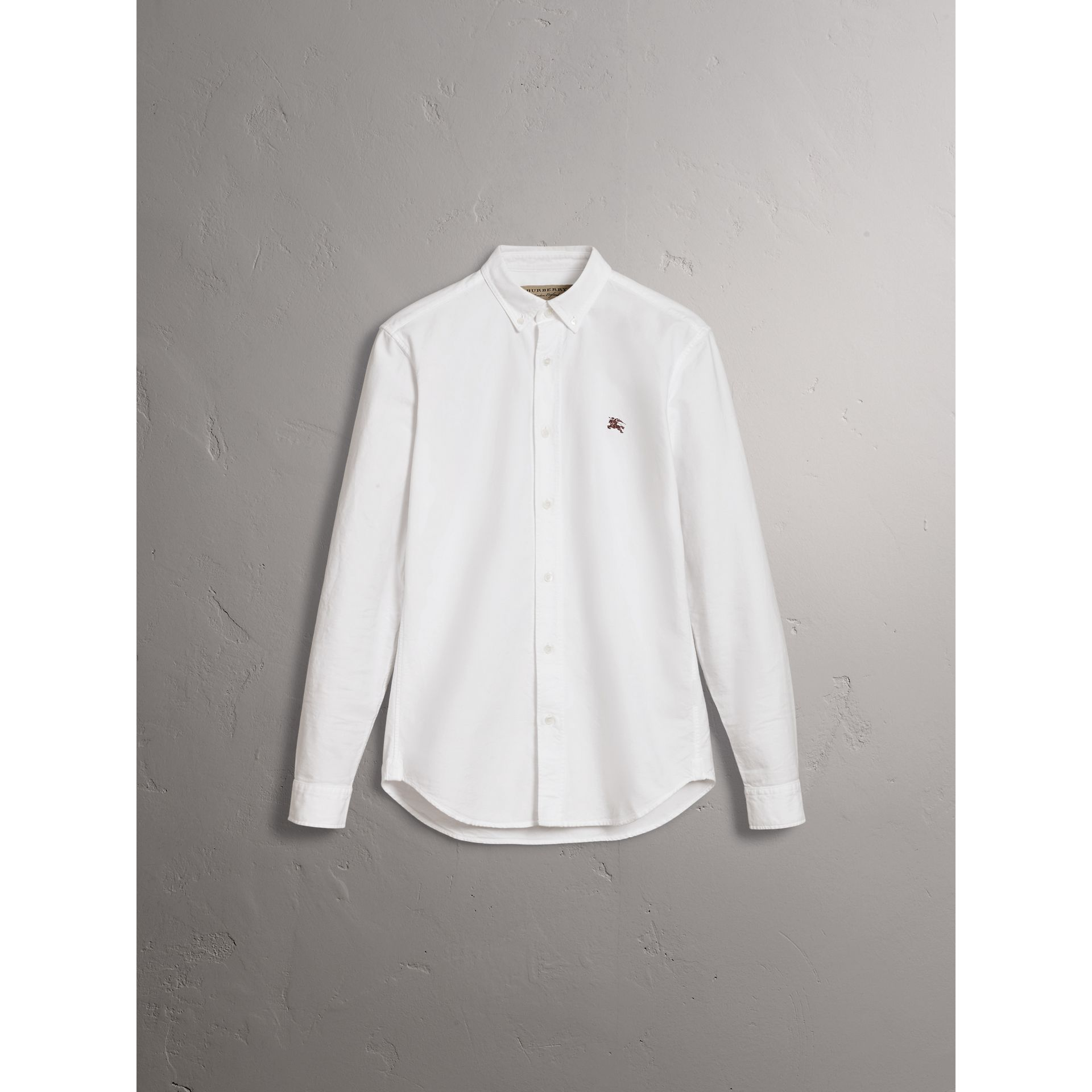 Cotton Oxford Shirt in White - Men | Burberry Australia - gallery image 4