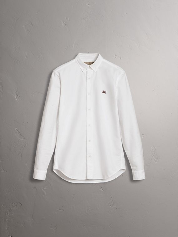 Cotton Oxford Shirt in White - Men | Burberry United Kingdom - cell image 3