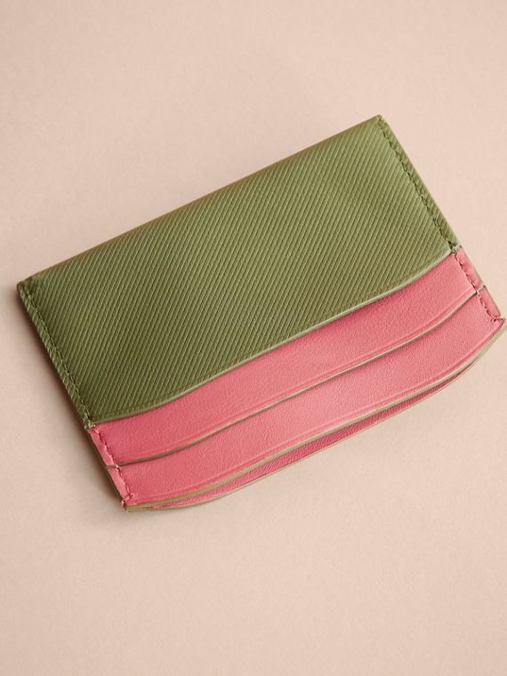 Two-tone Trench Leather Card Case in Mss Green/ Blsm Pink - Women | Burberry - cell image 2
