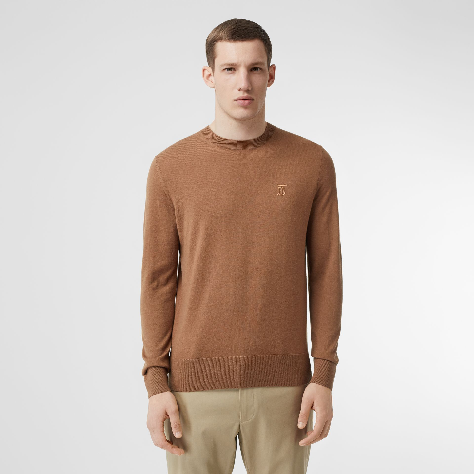 Monogram Motif Cashmere Sweater in Maple - Men | Burberry - gallery image 0