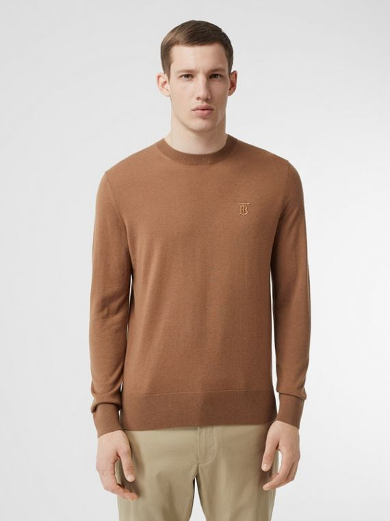 Monogram Motif Cashmere Sweater in Maple