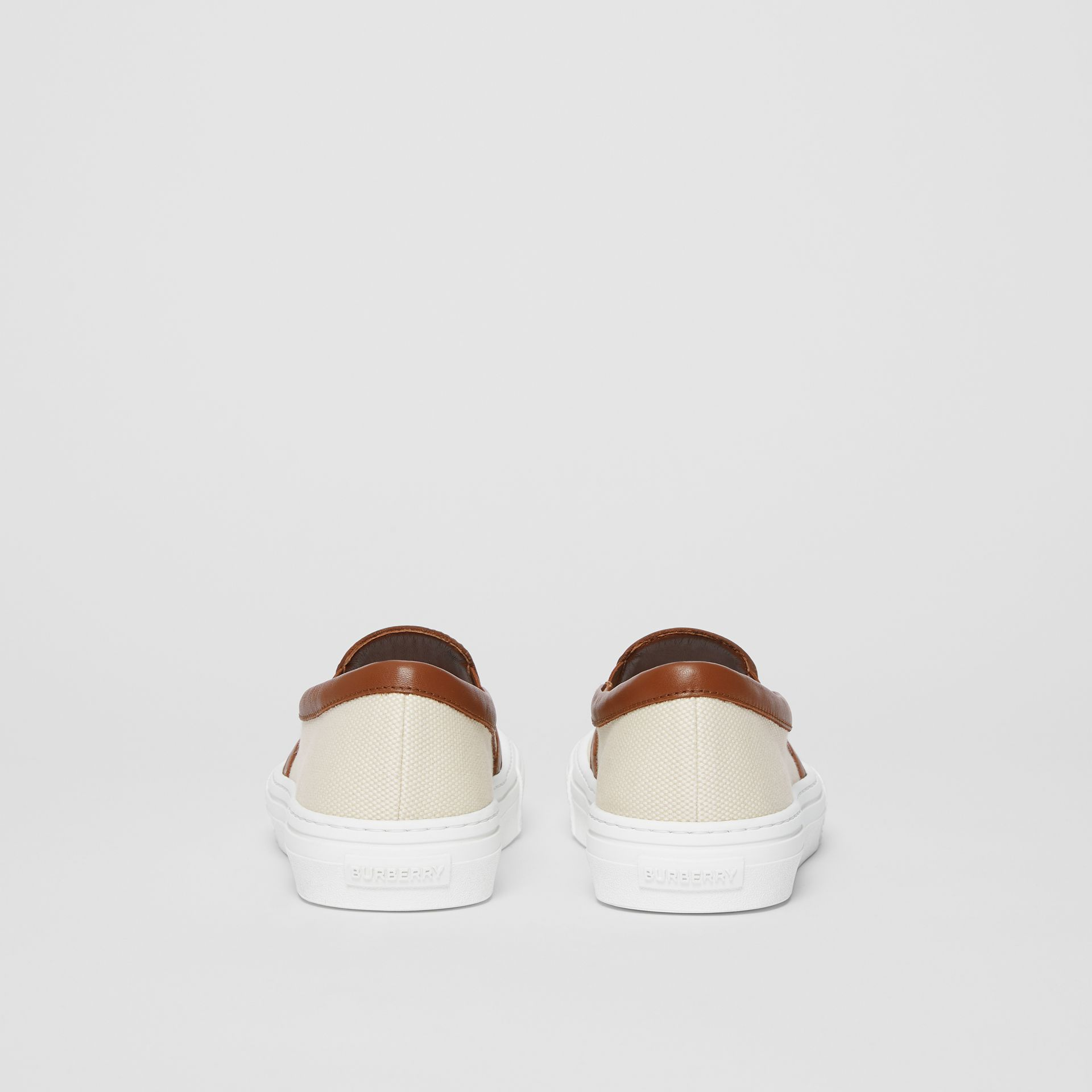 Sneakers sans lacets en coton et cuir Horseferry (Brun Malt) - Femme | Burberry - photo de la galerie 3