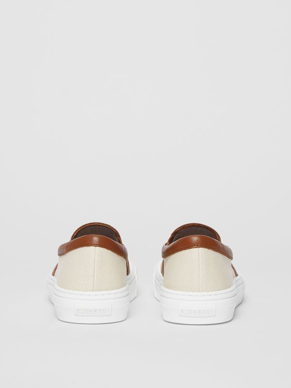 Horseferry Print Cotton and Leather Slip-on Sneakers in Malt Brown - Women | Burberry United Kingdom - cell image 3