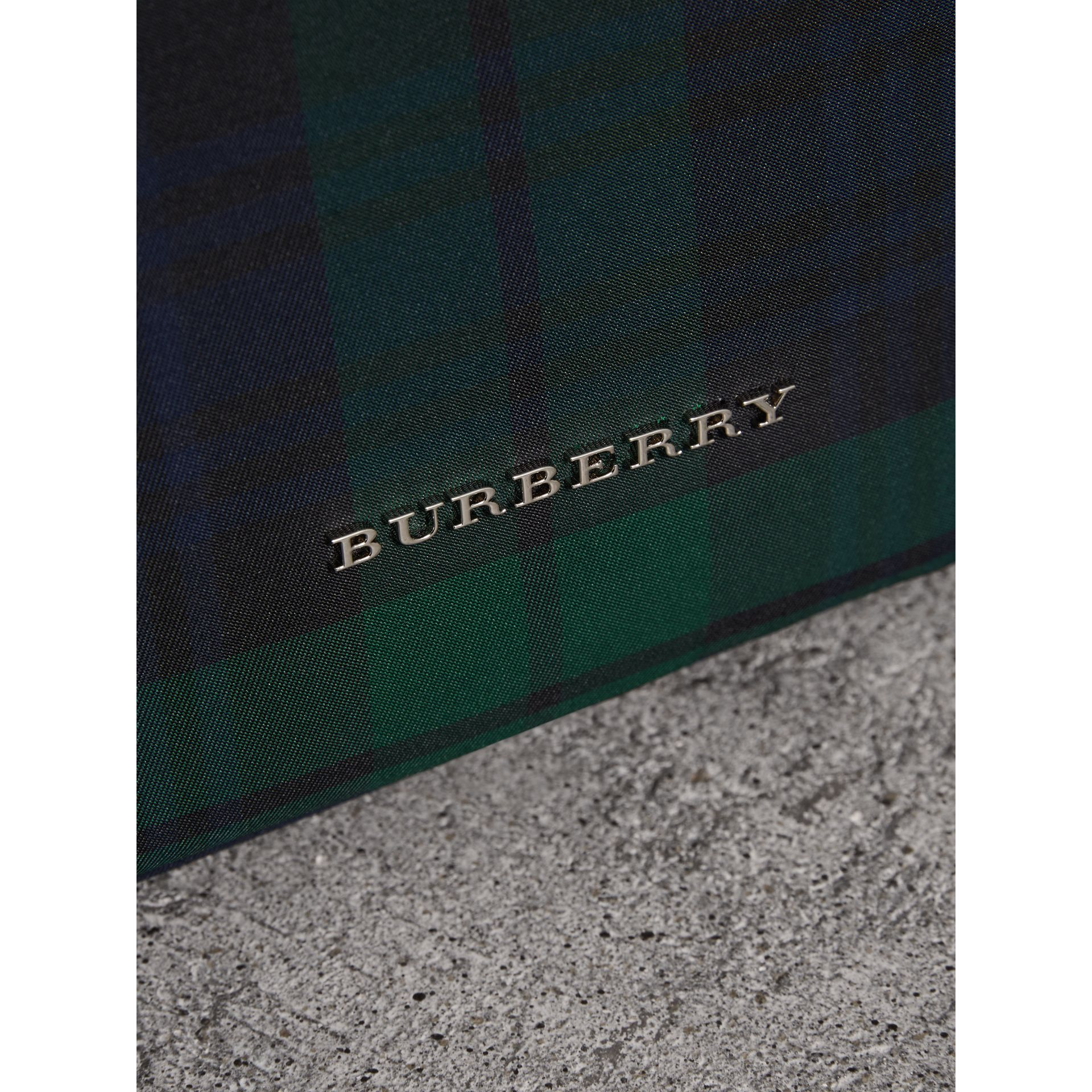 Zip-top Leather Trim Tartan Backpack in Forest Green - Men | Burberry - gallery image 1