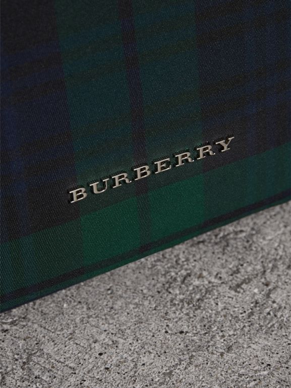 Zip-top Leather Trim Tartan Backpack in Forest Green - Men | Burberry - cell image 1