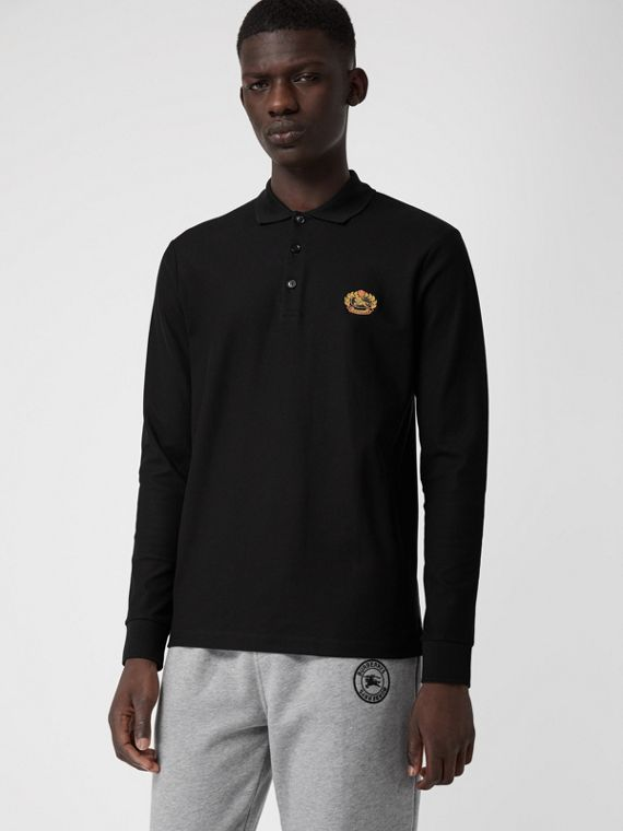 Long-sleeve Archive Logo Cotton Piqué Polo Shirt in Black