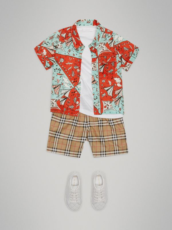 Short-sleeve Picnic Print Linen Shirt in Bright Aqua - Children | Burberry - cell image 2
