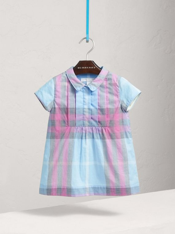 Pleated Bib Check Cotton Dress in Chalk Blue | Burberry - cell image 2