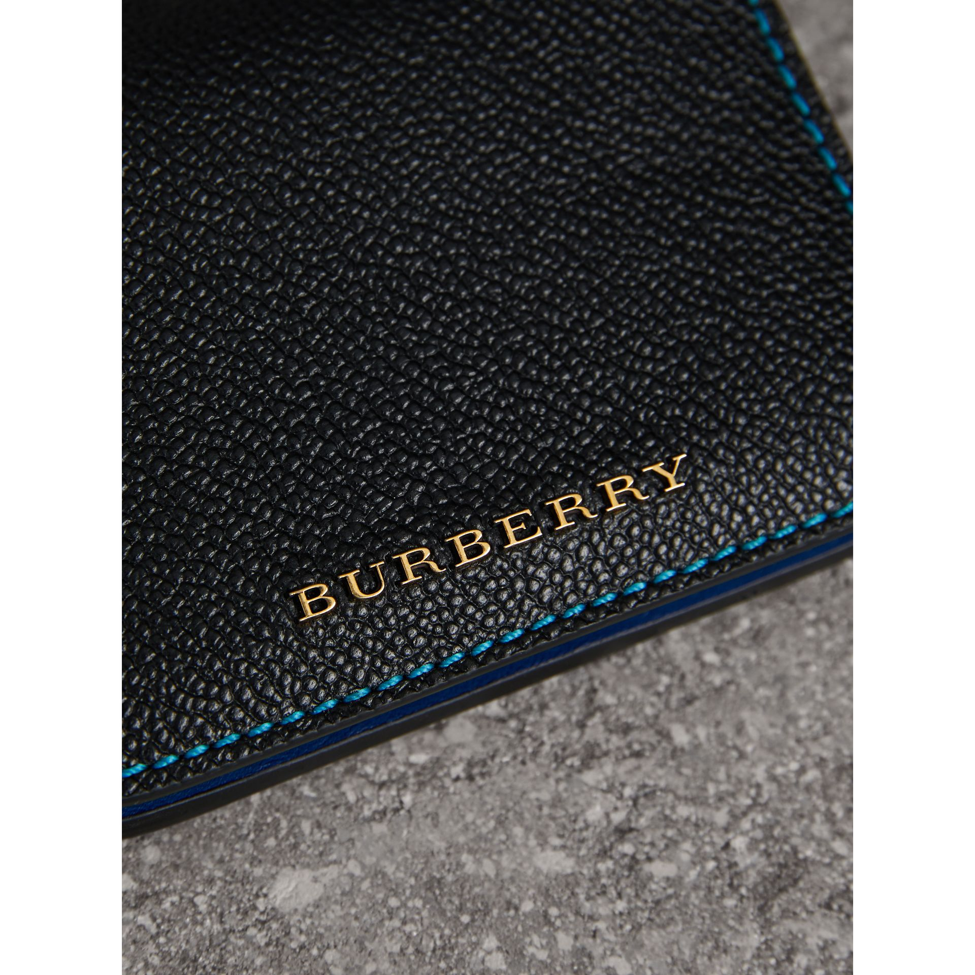 Leather and Haymarket Check ID Card Case Charm in Black/multicolour - Women | Burberry Canada - gallery image 1