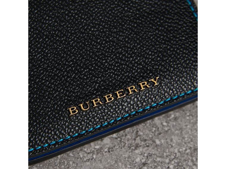 Leather and Haymarket Check ID Card Case Charm in Black/multicolour - Women | Burberry United Kingdom - cell image 1