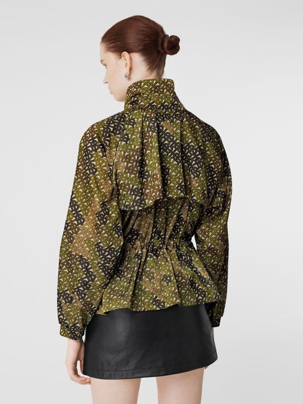 Monogram Print Nylon Funnel Neck Jacket in Khaki Green - Women | Burberry - cell image 2