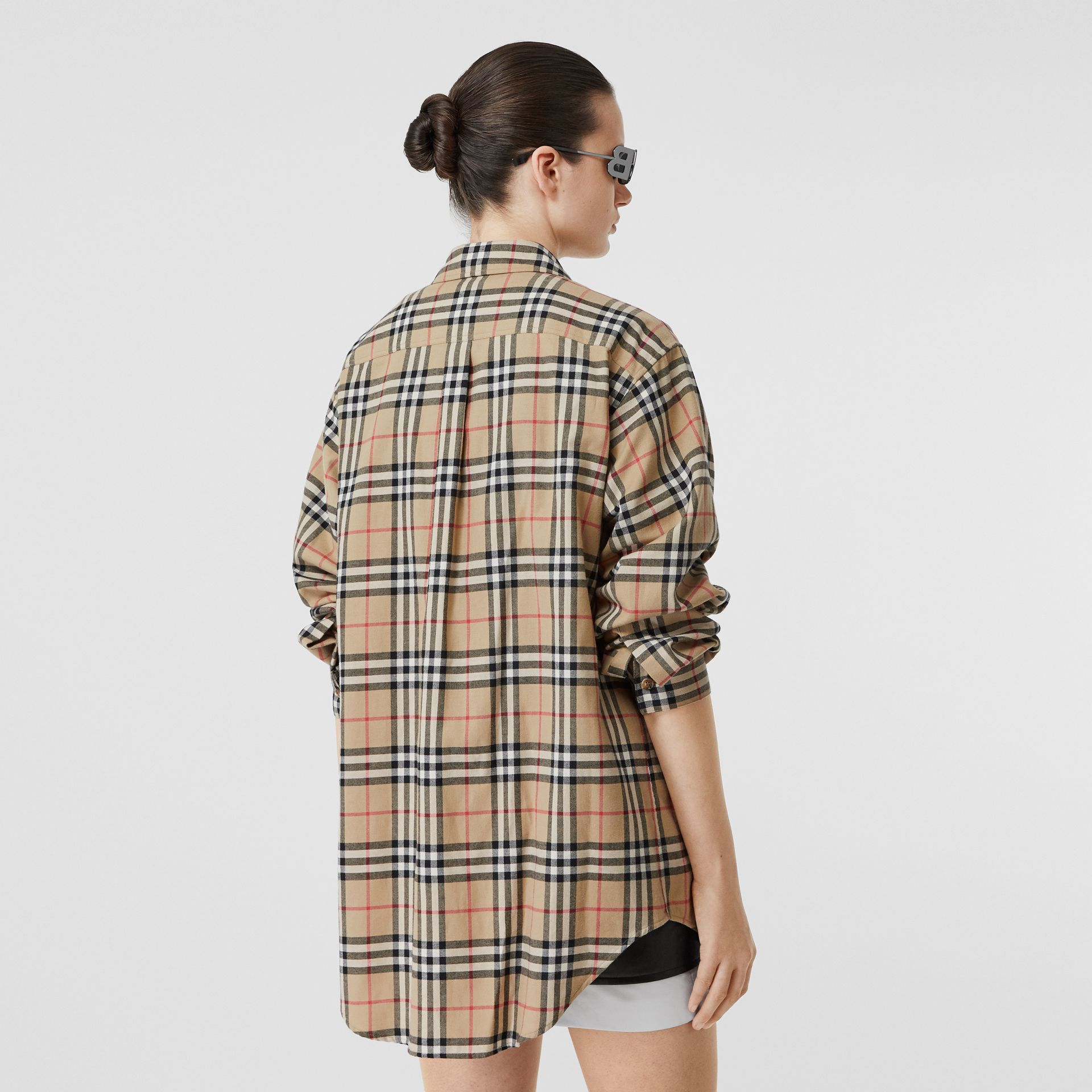 Vintage Check Cotton Flannel Oversized Shirt in Archive Beige - Women | Burberry - gallery image 2