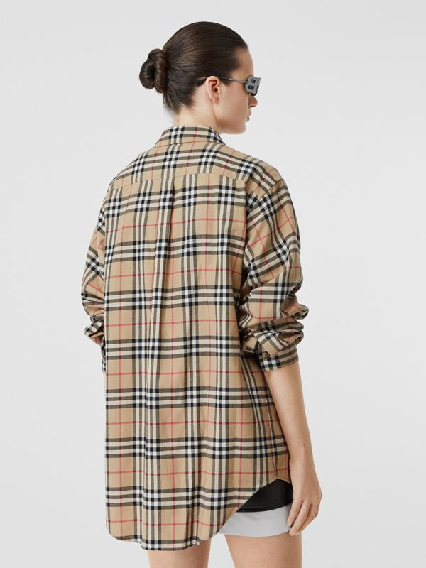 Vintage Check Cotton Flannel Oversized Shirt in Archive Beige - Women | Burberry Australia - cell image 2