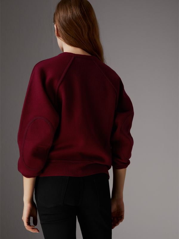 Topstitch Detail Wool Cashmere Blend Sweater in Burgundy - Women | Burberry - cell image 2