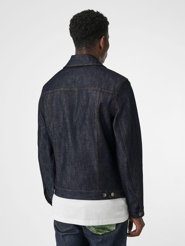 Postcard Motif Japanese Selvedge Denim Jacket in Mid Indigo - Men | Burberry - cell image 2