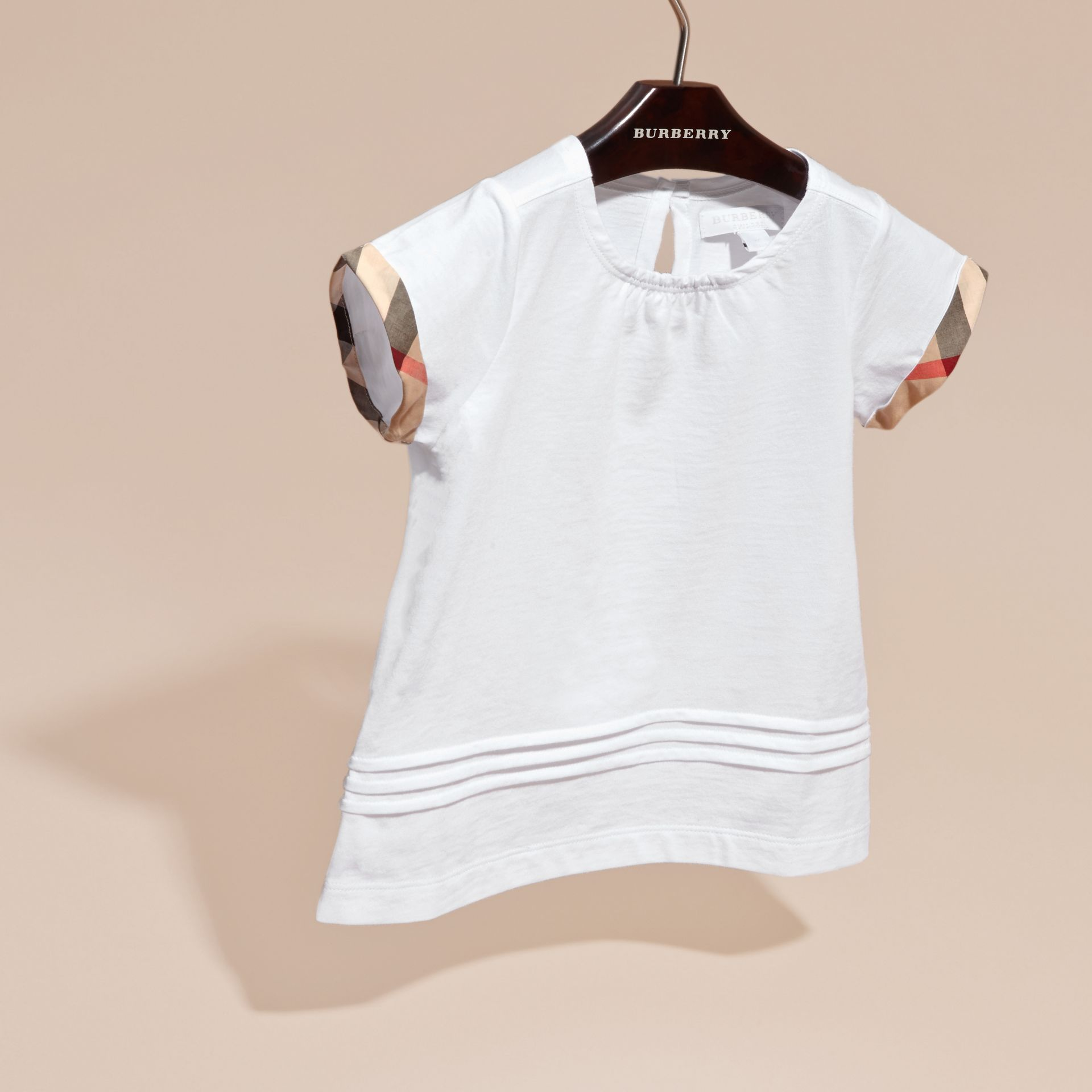 White Pleat and Check Detail Cotton T-shirt White - gallery image 3