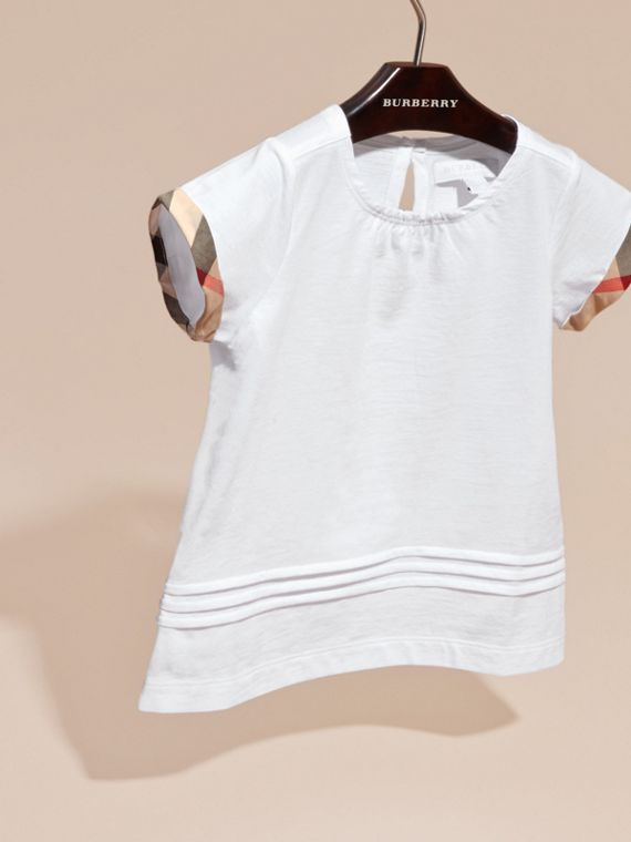 White Pleat and Check Detail Cotton T-shirt White - cell image 2