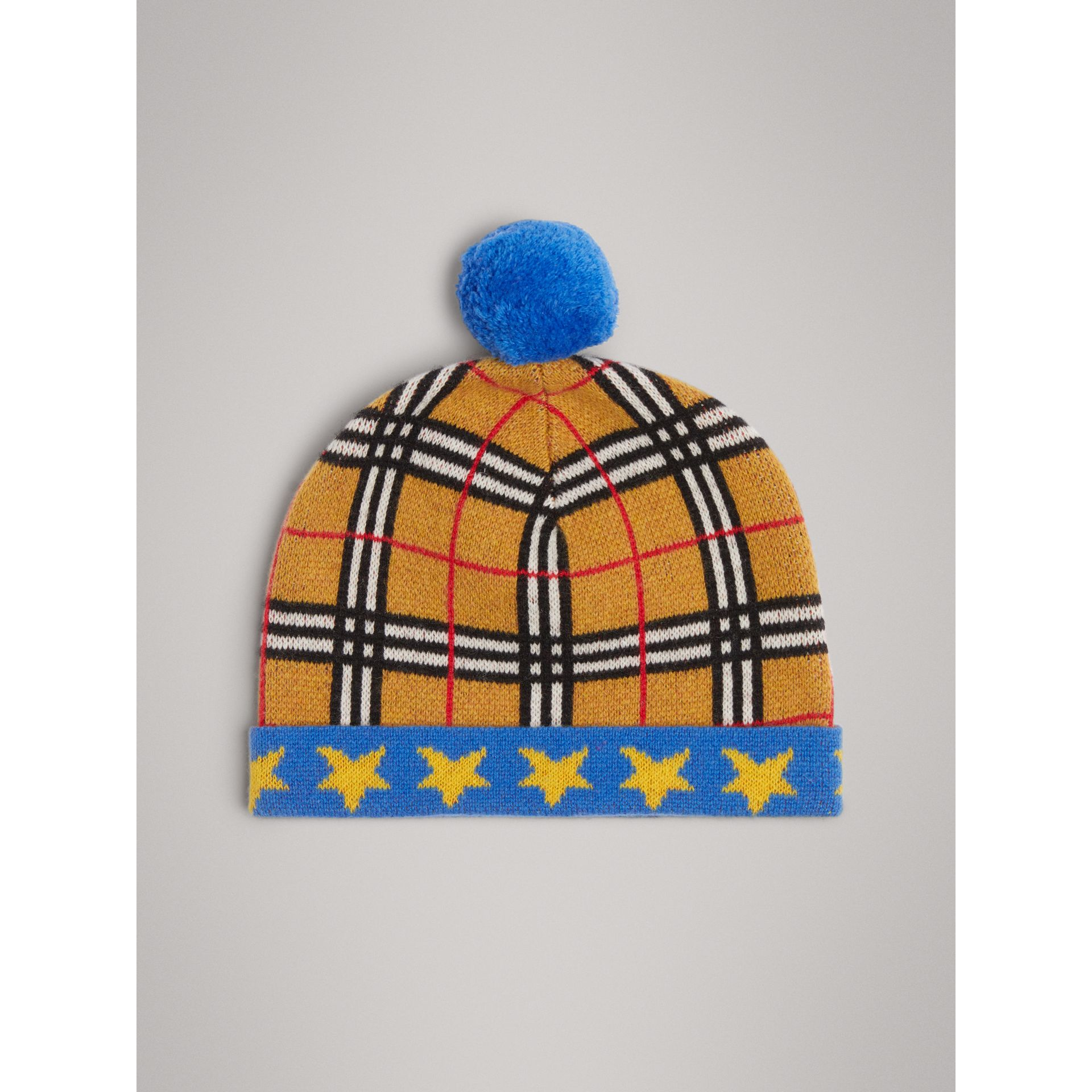 Stars and Check Cashmere Turnback Beanie in Canvas Blue | Burberry - gallery image 2