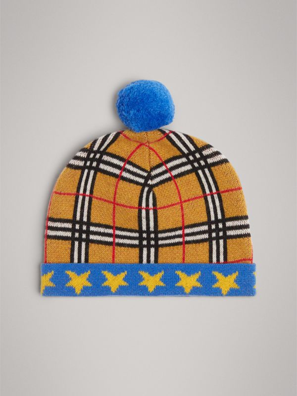 Stars and Check Cashmere Turnback Beanie in Canvas Blue | Burberry - cell image 2