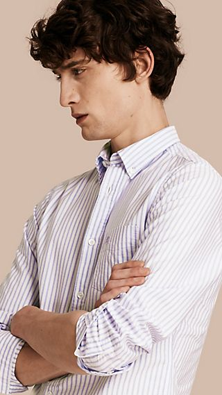 Button-down Collar Oxford Stripe Cotton Shirt