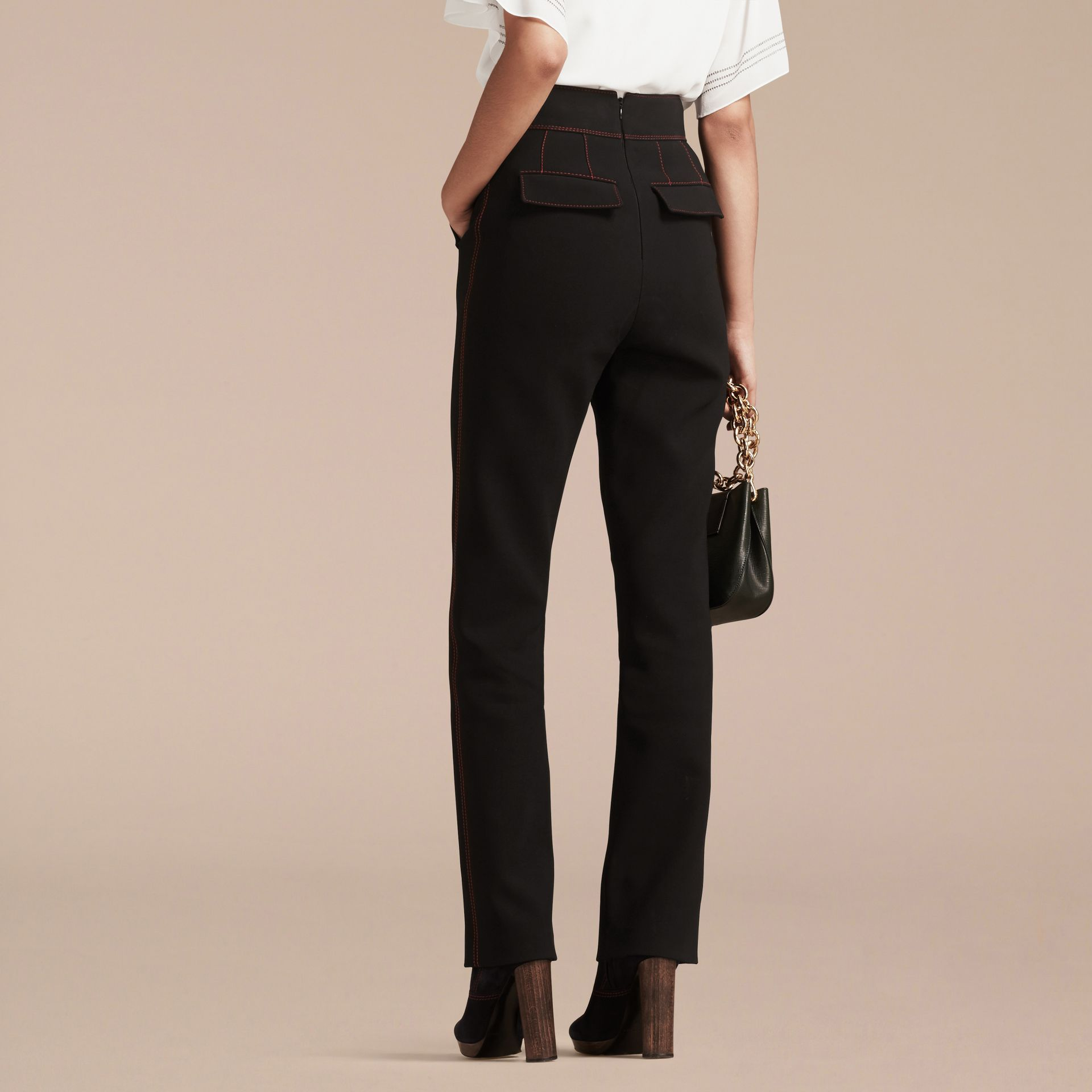Black High-waist Stretch Military Trousers - gallery image 3