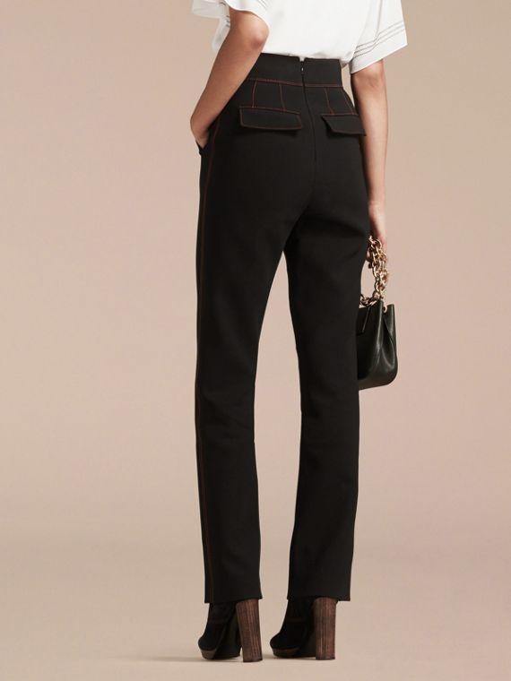 Black High-waist Stretch Military Trousers - cell image 2