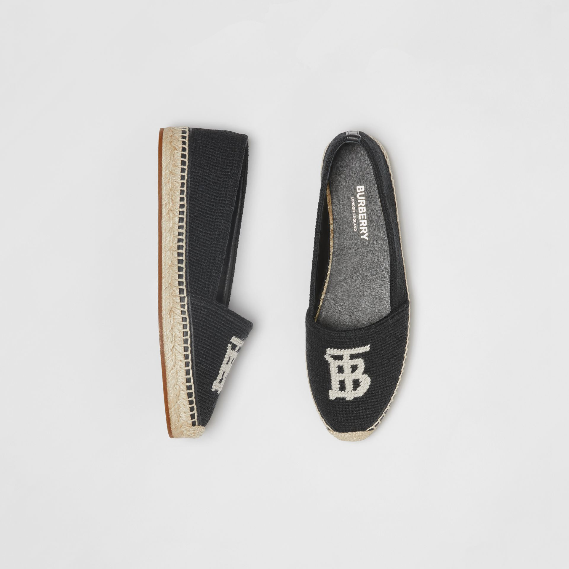 Monogram Motif Cotton and Leather Espadrilles in Black/ecru - Women | Burberry Australia - gallery image 0