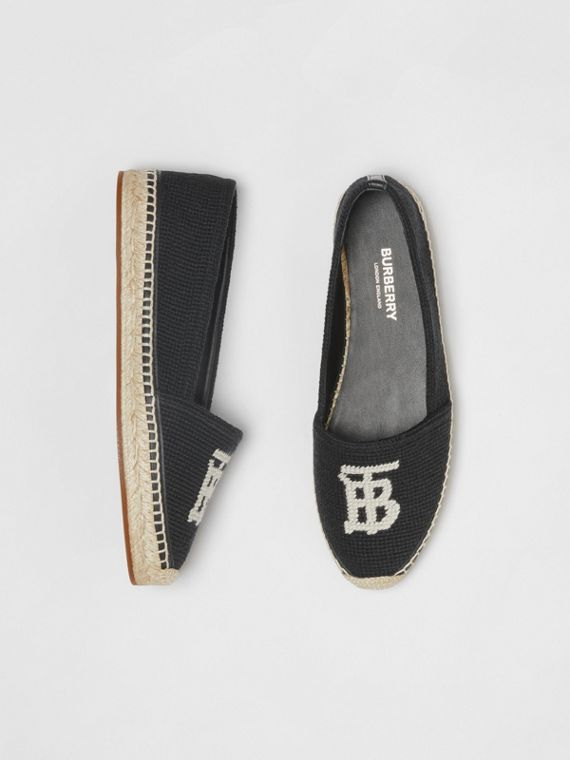 Monogram Motif Cotton and Leather Espadrilles in Black/ecru