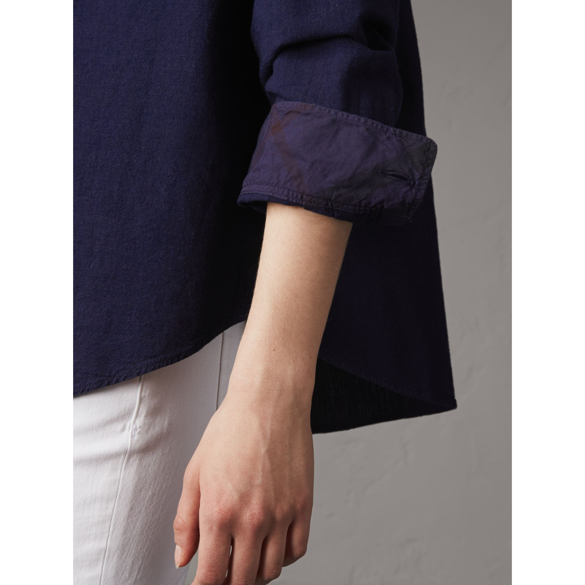 Neck Tie Cotton Chambray Shirt in Dark Indigo - Women | Burberry - gallery image 5
