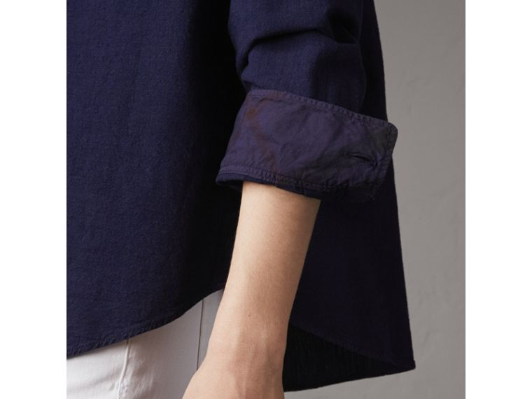 Neck Tie Cotton Chambray Shirt in Dark Indigo - Women | Burberry - cell image 4