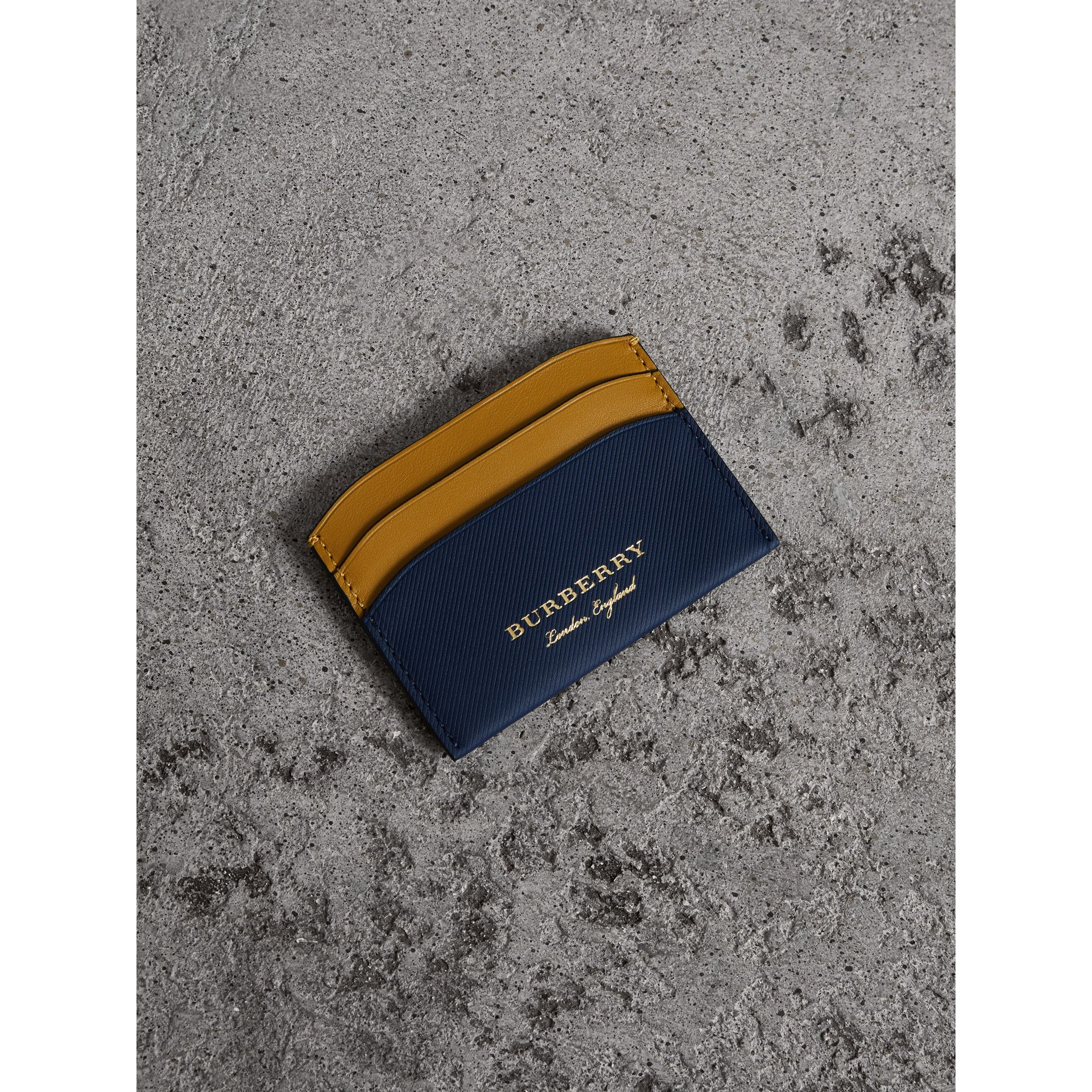 Two-tone Trench Leather Card Case in Ink Blue/ochre Yellow - Women | Burberry United States - gallery image 0