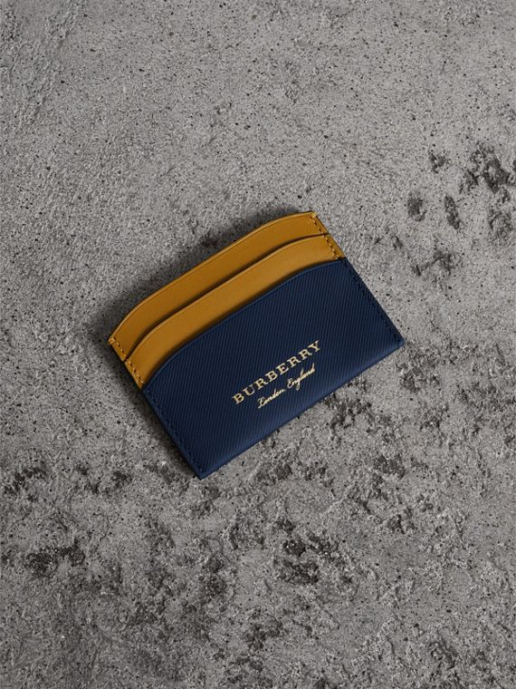 Two-tone Trench Leather Card Case in Ink Blue/ochre Yellow