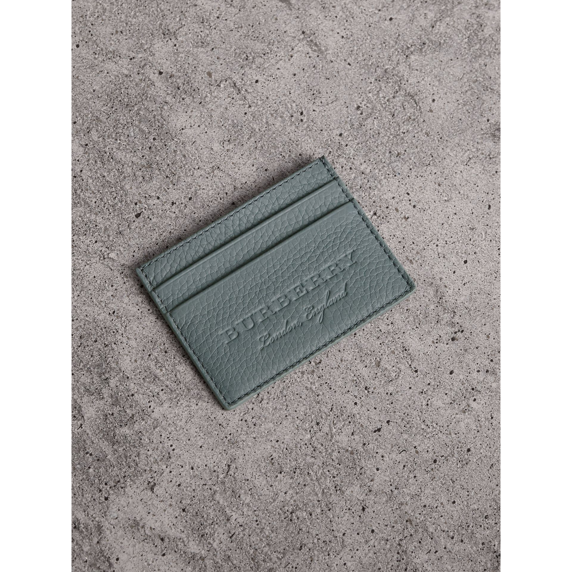 Textured Leather Card Case in Dusty Teal Blue - Men | Burberry - gallery image 0