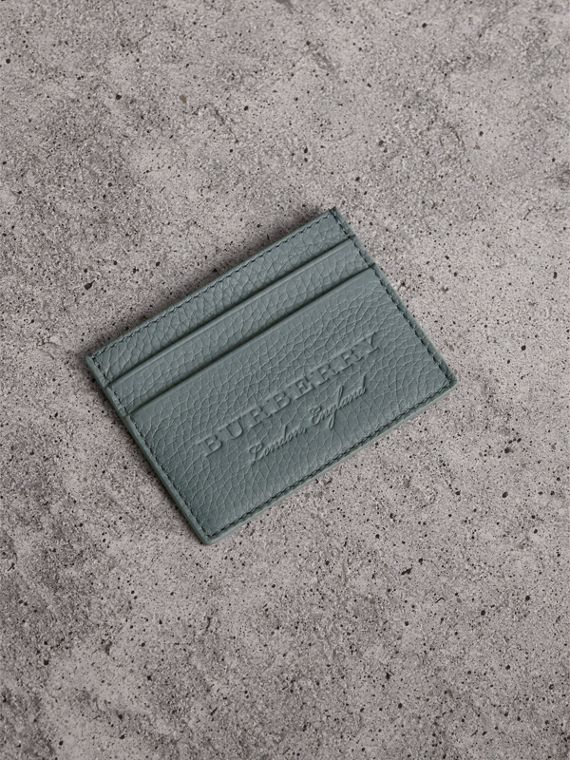 Textured Leather Card Case in Dusty Teal Blue