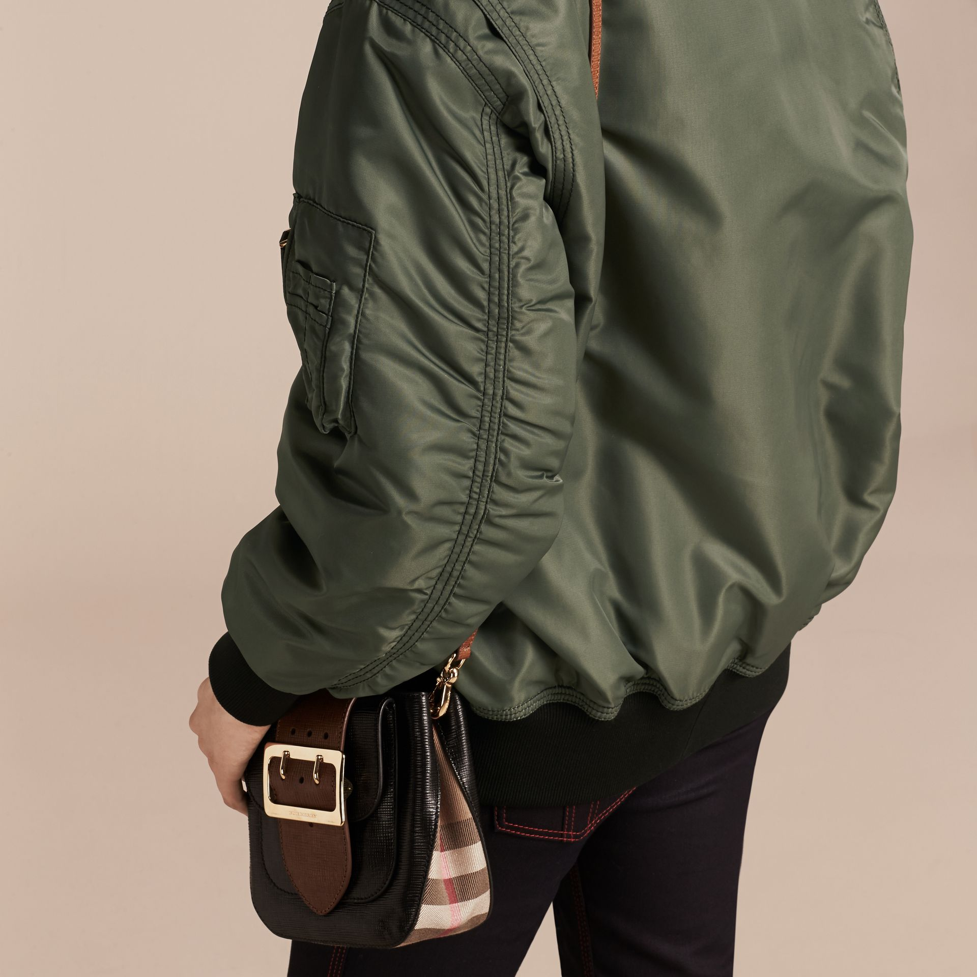 Khaki green Oversize Water-repellent Bomber Jacket - gallery image 6