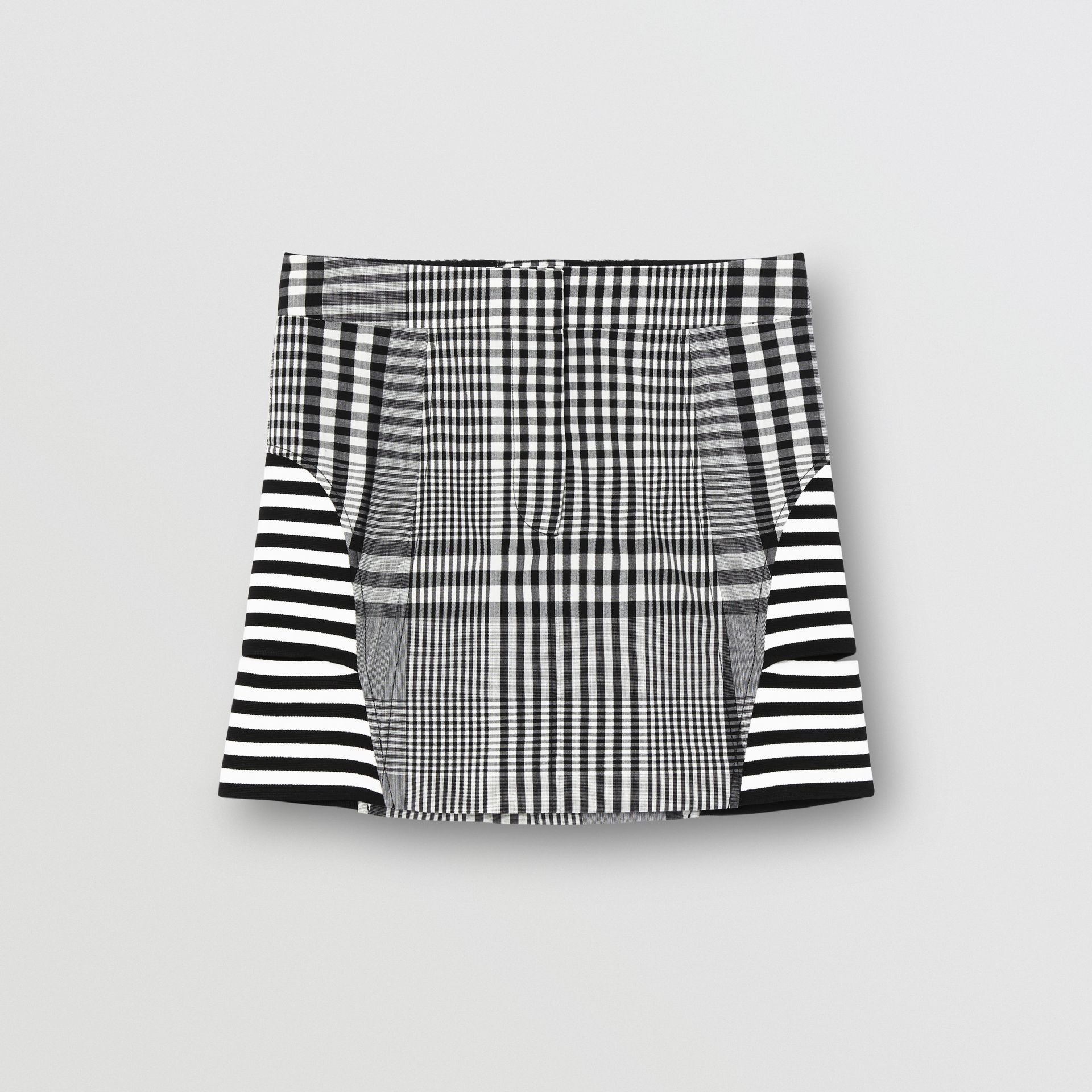 Stripe and Check Technical Wool Mini Skirt in Black - Women | Burberry - gallery image 3