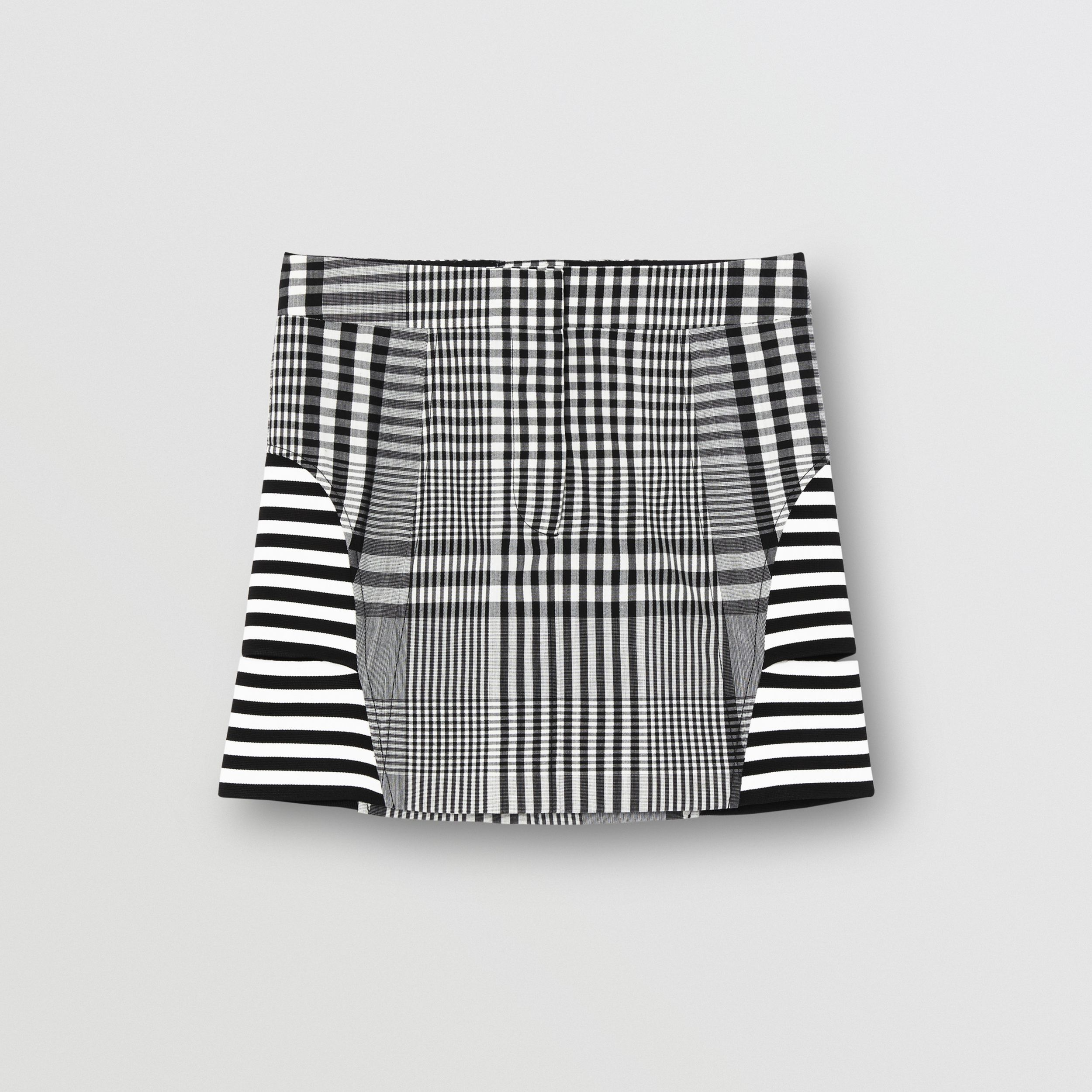 Stripe and Check Technical Wool Mini Skirt in Black - Women | Burberry - 4
