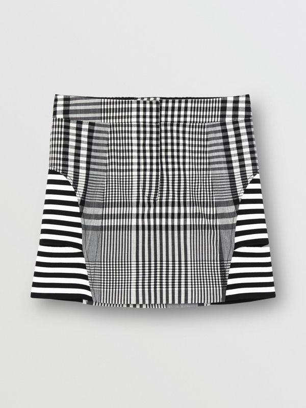 Stripe and Check Technical Wool Mini Skirt in Black - Women | Burberry - cell image 3