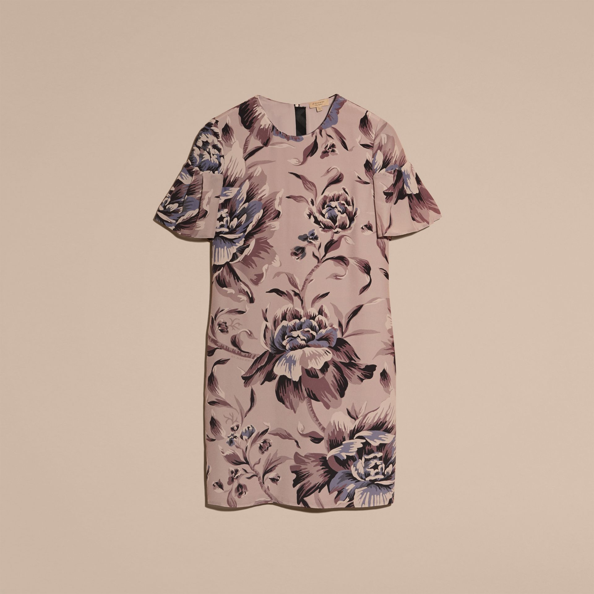 Ash rose Peony Rose Silk Shift Dress with Ruffle Sleeves Ash - gallery image 4