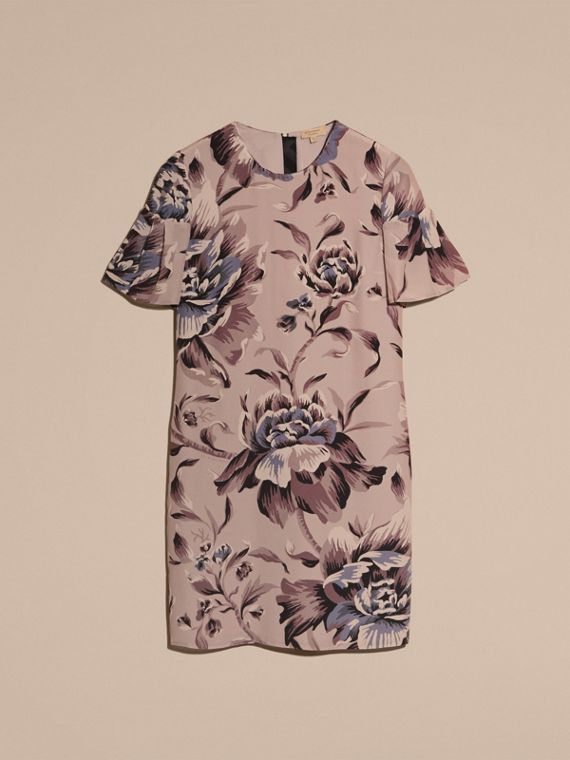 Ash rose Peony Rose Silk Shift Dress with Ruffle Sleeves Ash - cell image 3