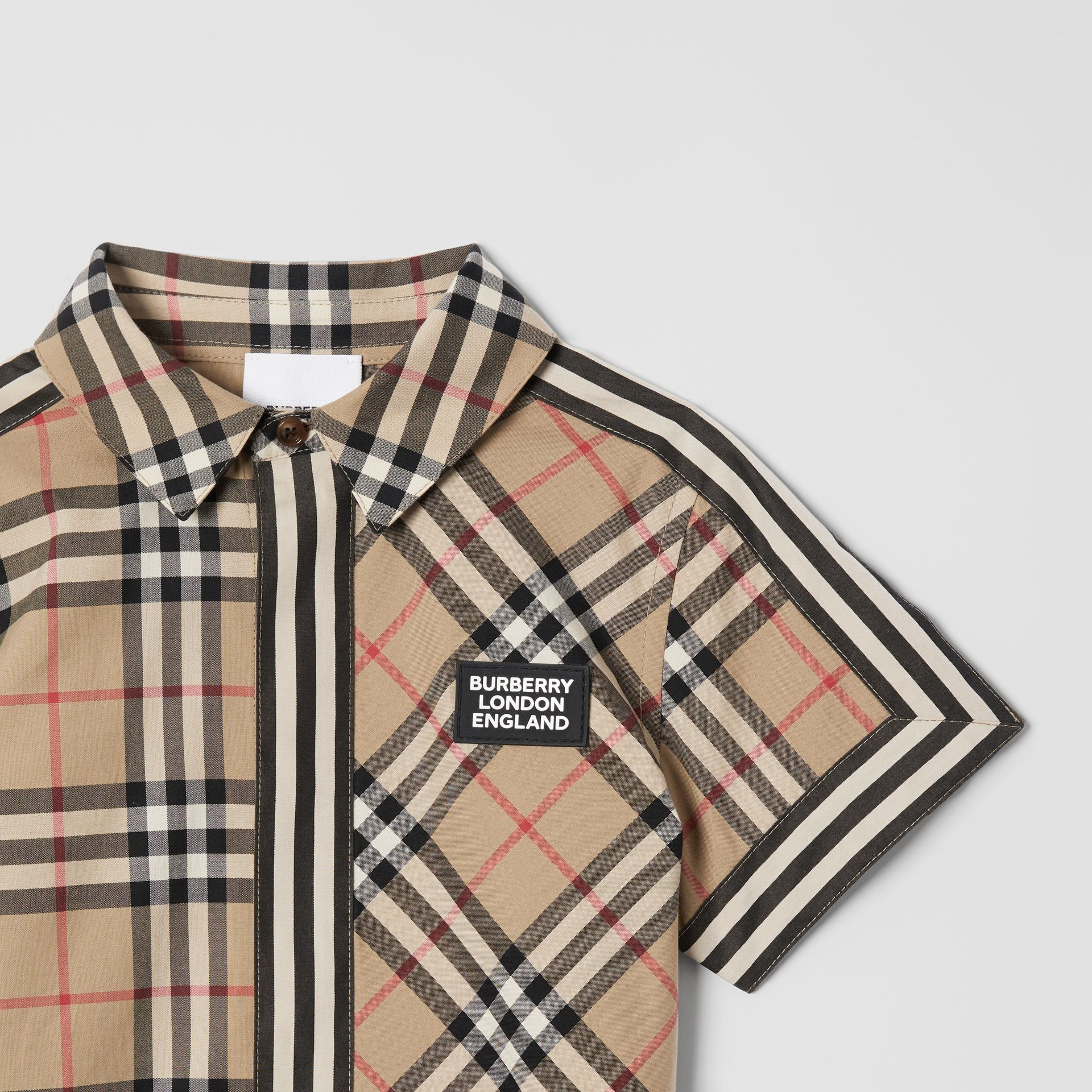 Short-sleeve Vintage Check Patchwork Cotton Shirt in Archive Beige | Burberry United Kingdom - gallery image 4
