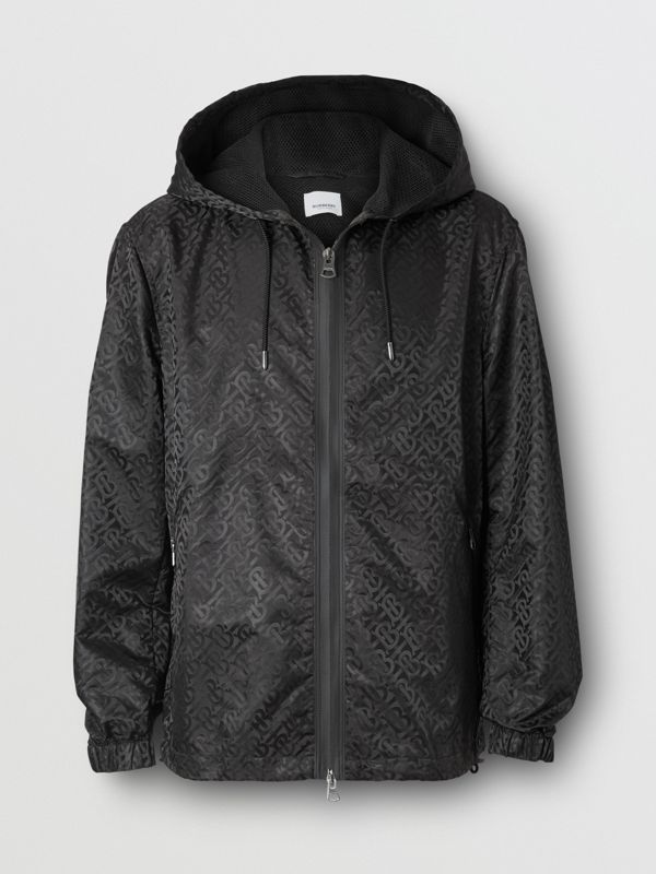 Monogram ECONYL® Jacquard Hooded Jacket in Black - Men | Burberry - cell image 3