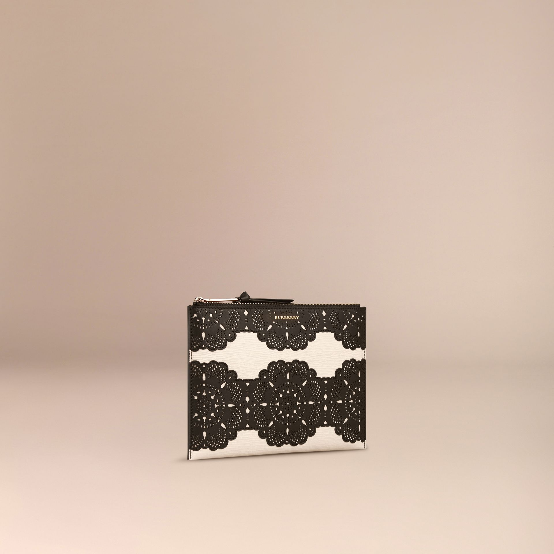 Natural Large Laser-cut Lace Leather Beauty Wallet - gallery image 3