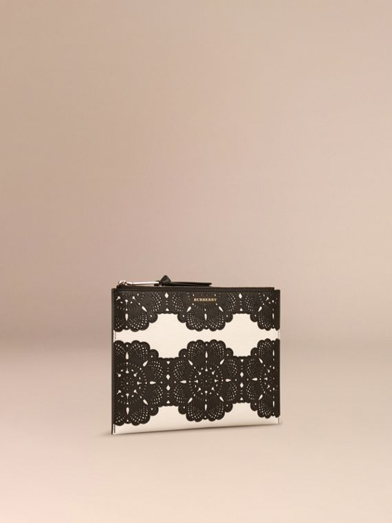 Natural Large Laser-cut Lace Leather Beauty Wallet - cell image 2