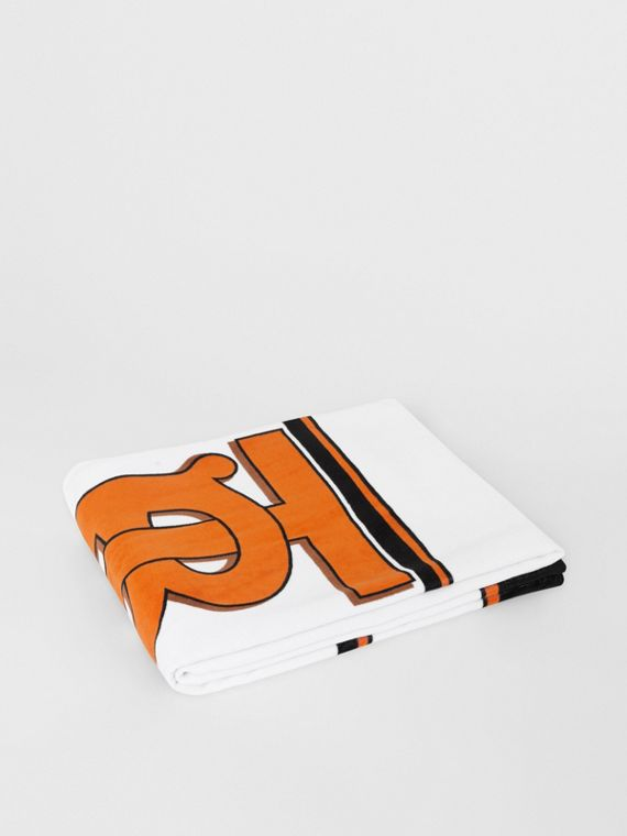 Monogram and Icon Stripe Print Cotton Towel in White