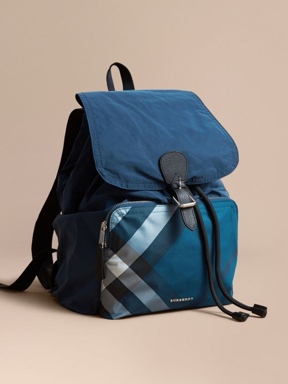 Check Detail Technical Packaway Rucksack Dark Teal Green