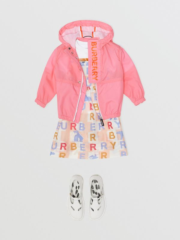 Logo Print Lightweight Hooded Jacket in Bright Rose - Children | Burberry - cell image 2