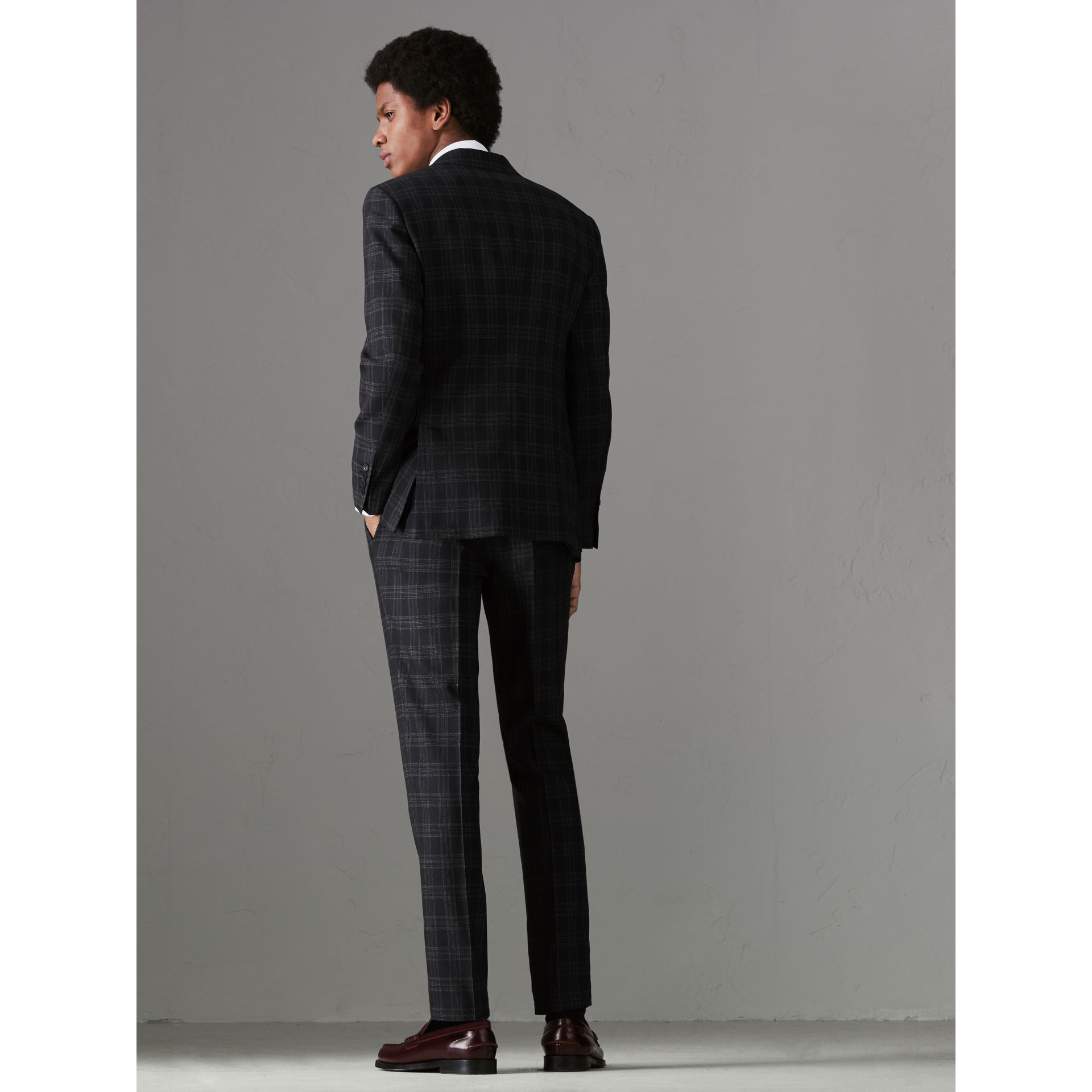 Soho Fit Check Wool Suit in Black - Men | Burberry - gallery image 2